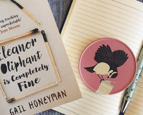 Eleanor Oliphant is Completely Fine by Gail Honeyman with notebook